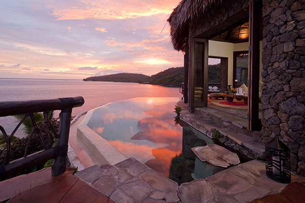 Laucala fiji peninsula villa lounge sunset