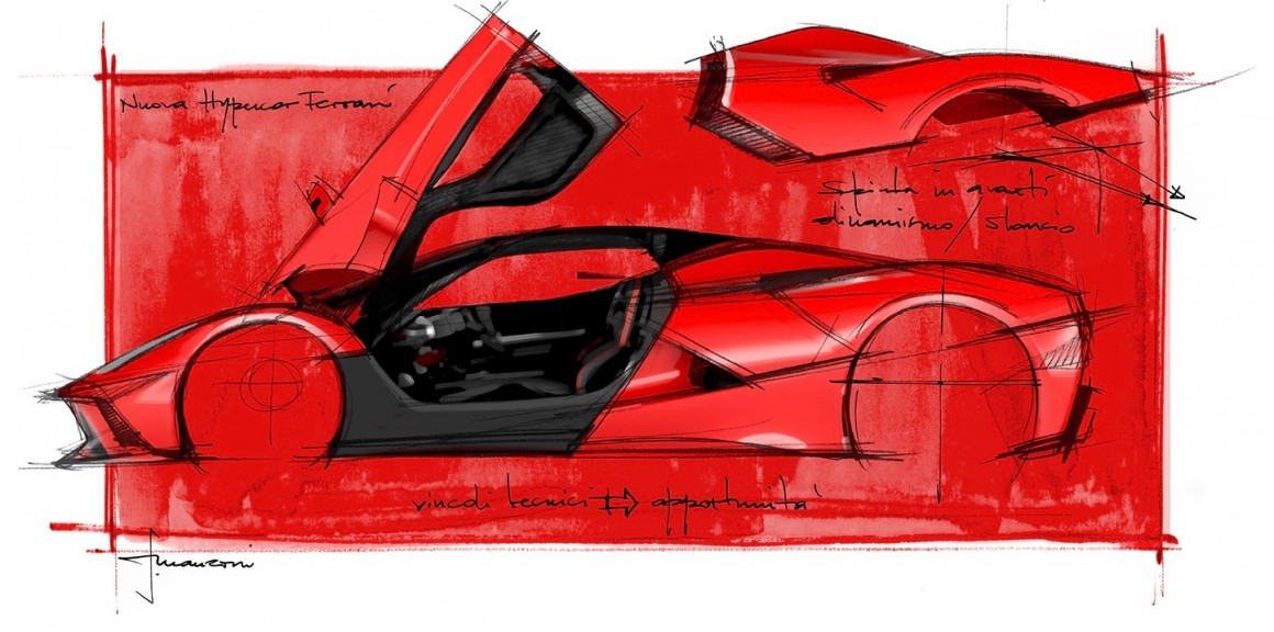Laferrari Design Sketch Luxury Car Ferrari Flavio Manzoni 1