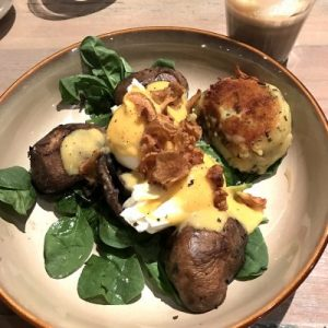 Grain store flinders lane brunch portobello mushrooms and gruyere rosti
