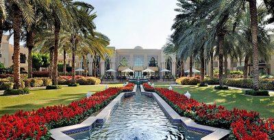 OneAndOnly Royal Mirage Esplanade manicured gardens