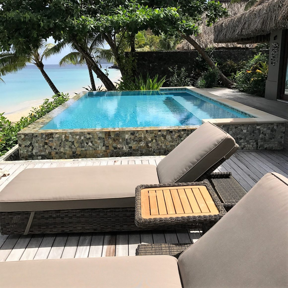 Private villa kokomo island ocean front private pool daybed skelly