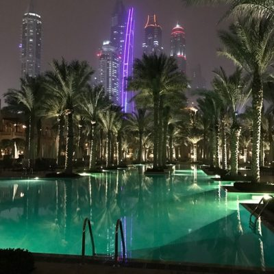 The Palace pool city skyline OneAndOnly Royal Mirage Skelly