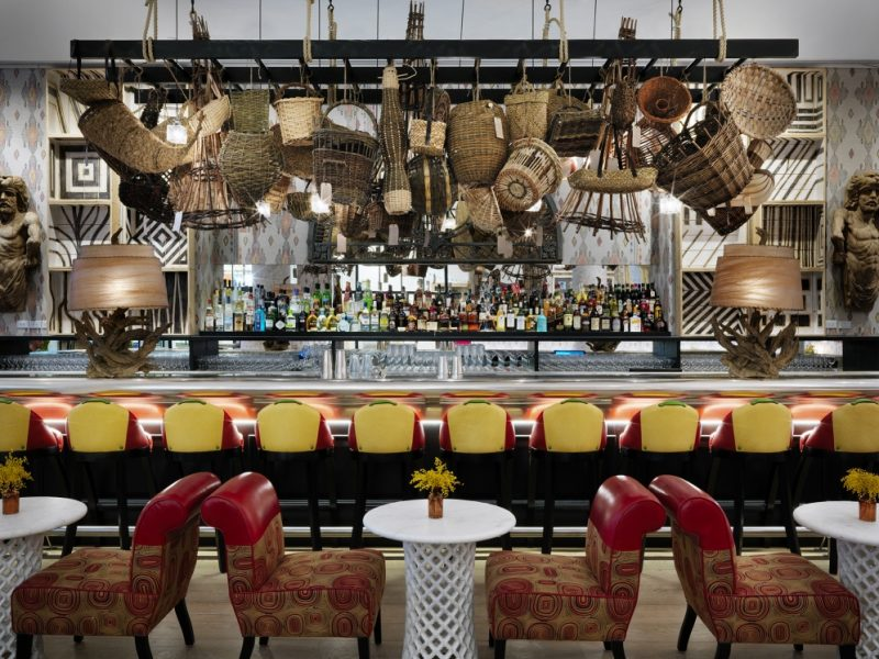 Basket installation in New York's Whitby Bar